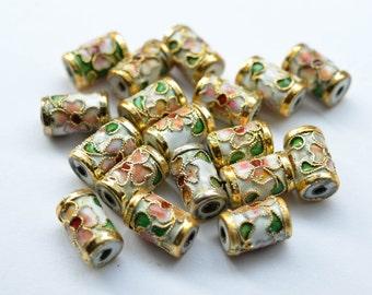 10 pcs Vintage Cloisonne Metal Beads, Chinese Cloisonne Tubes, 10mm x 11mm