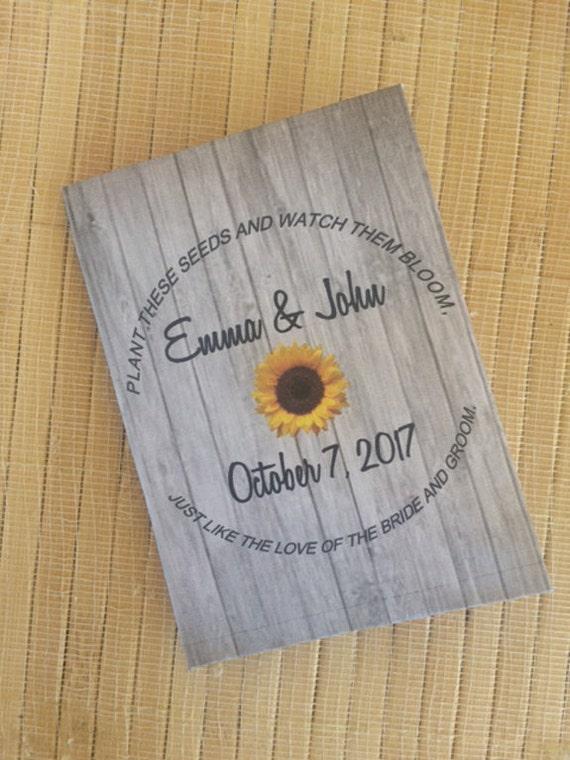 50 Wedding Favors, fall wedding favors, autumn wedding favors, Wedding Seed Packets,  fall favors, sunflower wedding favors