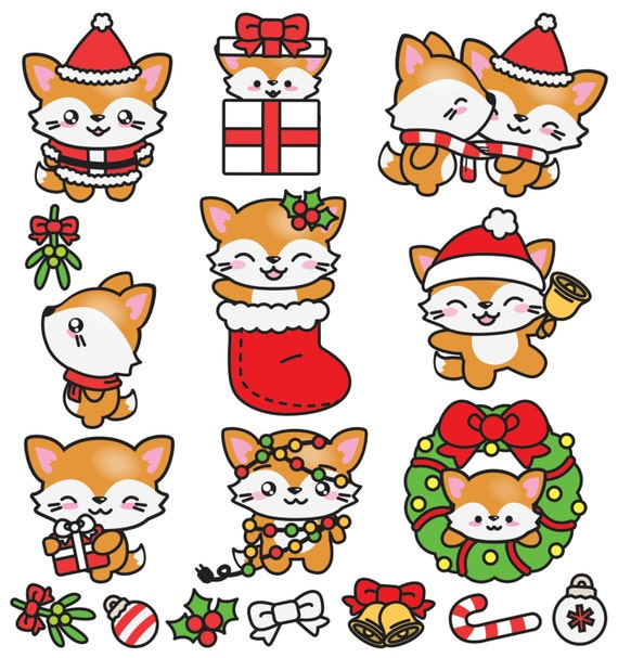 Premium vector clipart kawaii christmas foxes cute - Clipart renard ...
