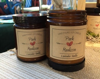 Park and Madison-Soy Candle-Lavender Vanilla Scented Soy Candle, Soy Candles Handmade