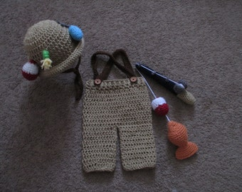 Crochet Fisherman Outfit--Sizes Newborn, 0-3, and 3-6 Available--Photo Prop