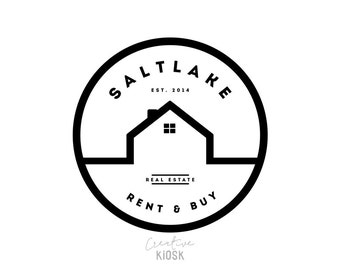 Real Estate Business Logo. Modern Realtor Logo. Simple House Logo Design. DIY Branding. Editable PSD Template. #0216.