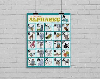 Animal Alphabet art print. Educational decor for baby nursery or child's bedroom. Art for girl or boy. Animal alphabet poster.Animal nursery
