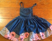 LAVENDER POPPIES- patchwork denim pinafore dress /size 12