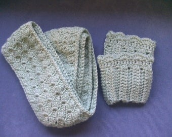Crocheted Scarf and Boot Cuff Set. Green