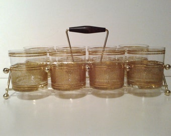 Retro Gold Ring Rocks Whiskey Glasses With Carrier