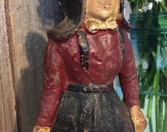 ON SALE** Antique Cast Iron Doorstop of Amish Woman in Traditional Dress