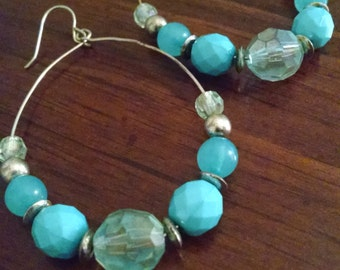 Vintage Handmade Hoop Earrings, Large Earrings, Gift Under 10.00, Beaded Earrings, Drop Earrings, Dangle Earrings, Accessories, Fun Earrings