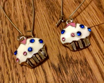 Threader Earrings,Vintage,Gifts Gift For Her, Gift for Baker,Jewelry Frosted Cupcakes w/ Colorful Rhinestones, Accessories,Perfectly Sweet