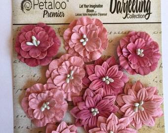 Paper flower, Petaloo Premier Darjeeling Collection Dahlias, paper flowers, dahlias, scrapbook embellishment,