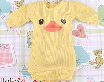i113.PR-113 Blythe/Pullip Print Clothes Frock Gown(Duck)# Yellow