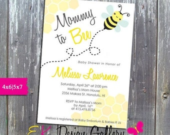 ON SALE Mommy To Bee Baby Shower Invitation Printable DIY
