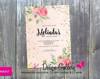 Bridal Shower Floral Invite, Bridal Shower Glitter Invitation, Wedding Shower Invite Digital Printable DIY