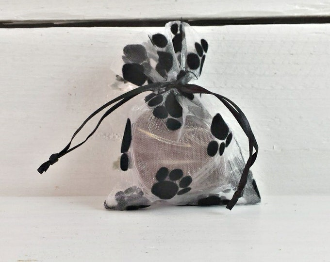 Paw Print Organza Bag, 3x4 Paw Print Bag, Gift Bag For Pet Lovers, Pet Treat Bag, Paw Print Favor Bag, Velvet Paw Print Bag, Cute Pet Bag
