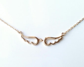 Necklace gold plated Angel Wings 750/000 - angel wing gold - Angel wings necklace, yellow gold 750 plaqted