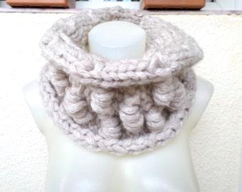 Chunky scarf, Oversized scarf, beige scarf, winter scarf, beige melange scarf, knit shawls, scarf beige