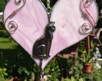 Red or Pink Sitting kitty heart sun catcher