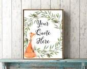 Custom quote fox personalised woodland nursery print printable wall art words lyrics modern room decor custom name gift