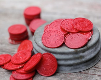 20 x Vintage State Tax Tokens Rations 1930s General Store Red Missouri One Cent Plastic Token
