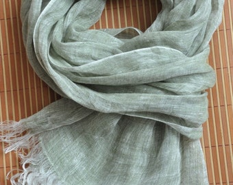 Pure linen scarf-- GREEN COLOR