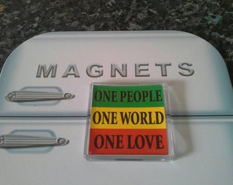 One World, One Love Fridge Magnet. Bob Marley, Reggae, Rastafarian Flag