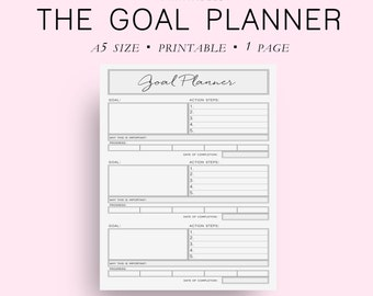 A5 Size Goal Planner, Goal Tracker, Goal Journal, Goal Planning, Planner Goals, DIY Planner, A5 Planner Inserts, A5 Planner Printable