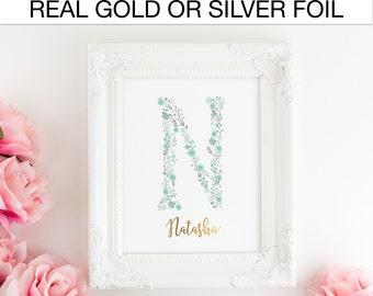 Mint Girl Nursery Decor, Monogram Personalized Letter, Child's room, Bedroom Real Foil Print, Silver foil, Gold foil, Home Decor, Wall Art