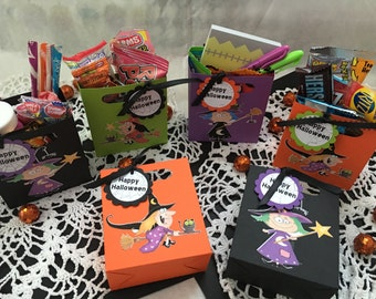 Just 6 Halloween Witch Party Favor Treat Holder Bags with Happy Halloween Tag