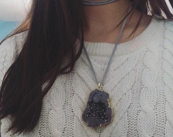 Suede wrap necklace with druzy pendant