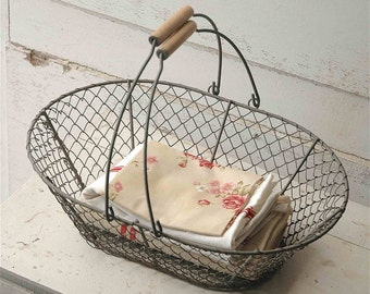 French vintage wire basket