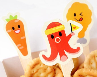 2 Sheets x Food Picks Labels / Japanese Food Sausage