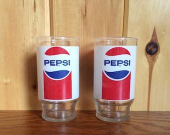 Pepsi Glasses - Pepsi Cola Glasses - Vintage Pepsi Logos - Pepsi - Pepsi Cola - Pepsi Advertising Glasses