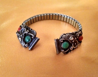 Native American/Southwestern Style Watch Ends, Sterling Silver, Turquoise and Coral