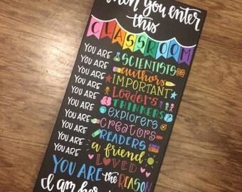 In this classroom teacher sign / canvas / teacher gift / classroom sign / teacher / teaching / classroom / canvas