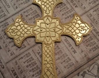 NEW! raw brass ornate cross 1 pendant