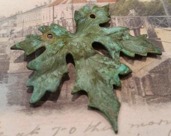 verdigris brass maple leaf pendant 1pc