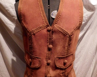 Suede Sweater Vest with Matching Patchwork Suede Skirt 1970s