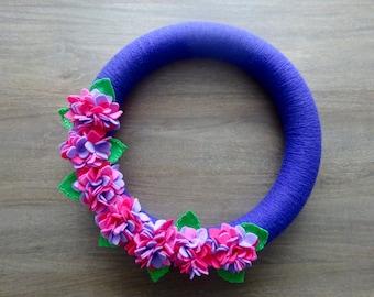 Summer Felt Flower Wreath, Felt Flower Wreath, Hydrangea Wreath, Spring Felt Wreath