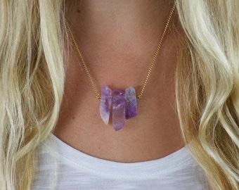 Three Stone Boho Necklace, Gold and Purple Amethyst Crystal Necklace, Purple Stone Necklace
