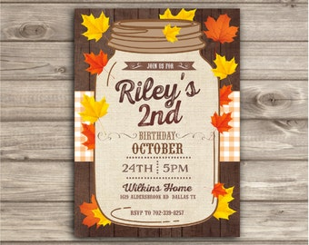 Fall Birthday Invitations Fall autumn leaves Wood mason jar Burlap thanksgiving Little Pumpkin Country 2nd birthday First Birthday NV2224