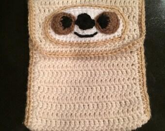Crocheted iPad sloth electronic case