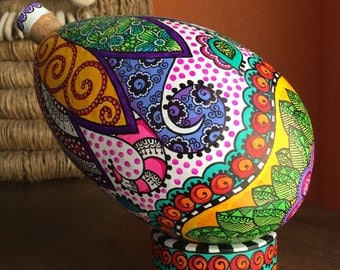 "8.5"" Hand painted ""Avocado shaped"" Venezuelan Tapara with base."