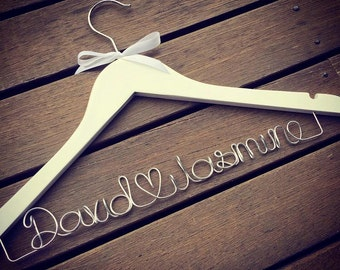 Customised Wedding Coat Hanger with love heart - Bride & Grooms names
