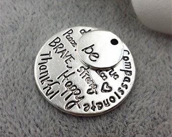 28mm antique silver letters charm pendants kind wise compassionate true thankful happy charm pendants MF1687