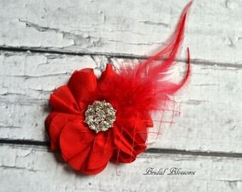 Red Chiffon Flower Hair Clip   Vintage Inspired Bridal Hair Piece   Wedding Fascinator   Clear Rhinestone Feather Veiling Hair Accessory