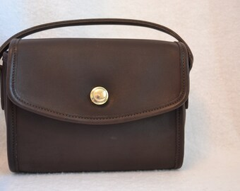 Vintage Coach Chocolate Brown Leather Chrystie Small Pushlock Purse 9892 USA!