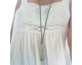 Raw Clear Quartz Gemstone Crystal with Wax Thread Macrame & Hemp Chord Hippie Necklace for Her Jewelry with Meaning Vegan gift Handmade