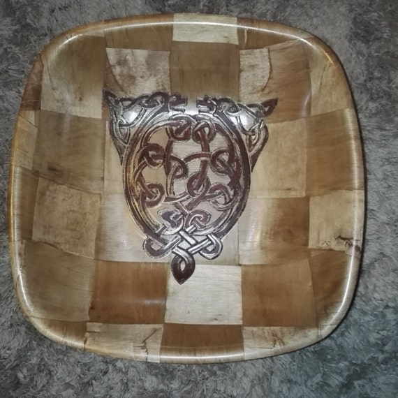 CELTIC DOG Norse Viking  Engraved hand painted NATURAL bamboo wooden bowl unique fruit / egg basket / nik naks viking art