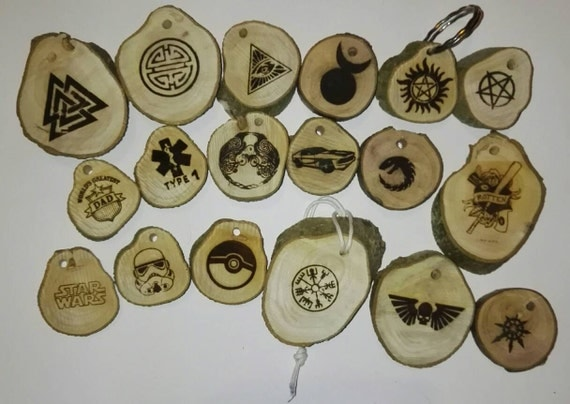 NORSE PAGAN CELTIC viking mythology diabetic type 1 / 2 natural wooden rustic key ring chain engraved novelty gift's
