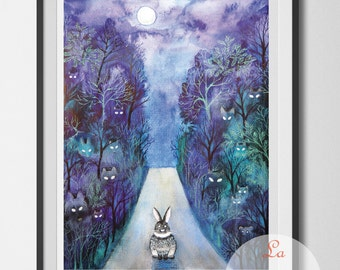 Little rabbit, bunny wall hanging, rabbit wall decor, art print unframed, animal art, road home, dark road, night forest, midnight walk